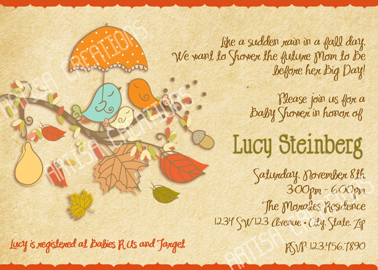 fall birds baby shower invitation fall baby by artisacreations