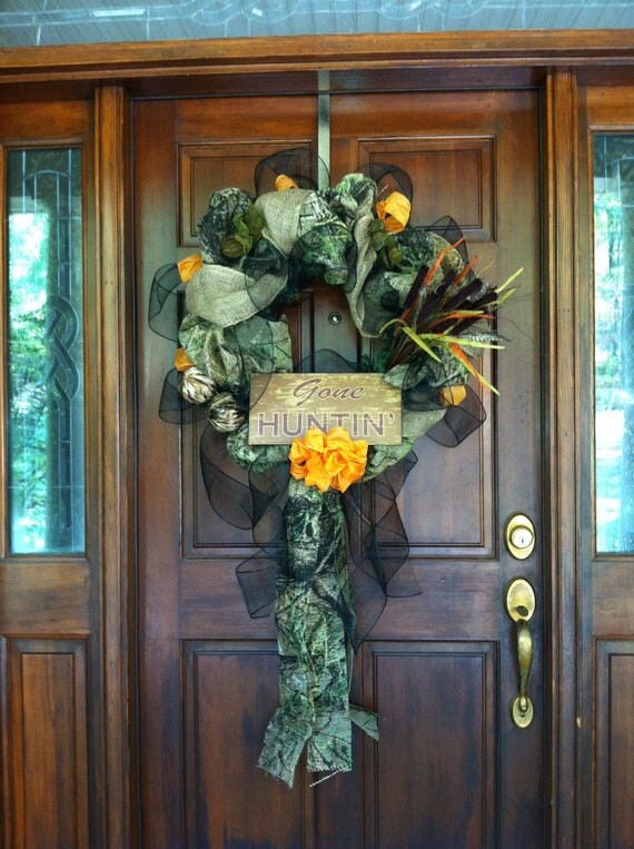 Gone Hunting Camo Burlap Wreath By Burlapanbling On Etsy