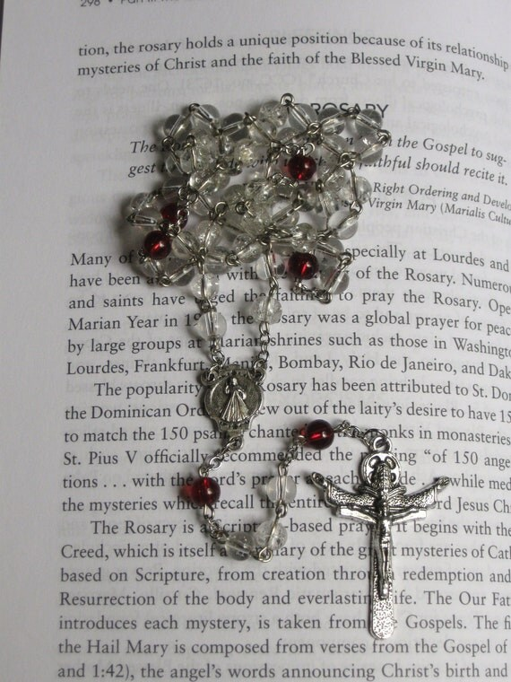 Divine Mercy Inspired Glass Rosary, Handmade