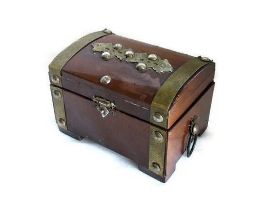 Wood Pirate Chest ~ Old pirate treasure chest wood brass metal ornaments