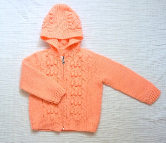 Vintage sweater 4T, coral color. Zip up hooded sweater. Handmade. Cable knit and pom poms