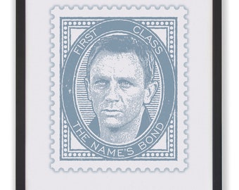"THE NAME'S Bond - 50 x 40cm ""Craig"" James Bond Stamp Print"