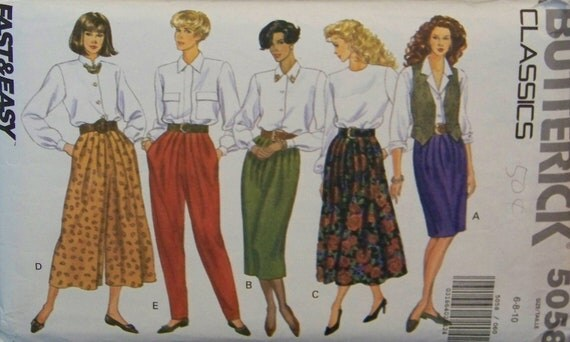 """Vintage 1990 Butterick Classics 5058 """"Fast & Easy"""" UNCUT Pattern for Misses' Skirt, Split Skirt, and Pants in Size 6-8-10"""