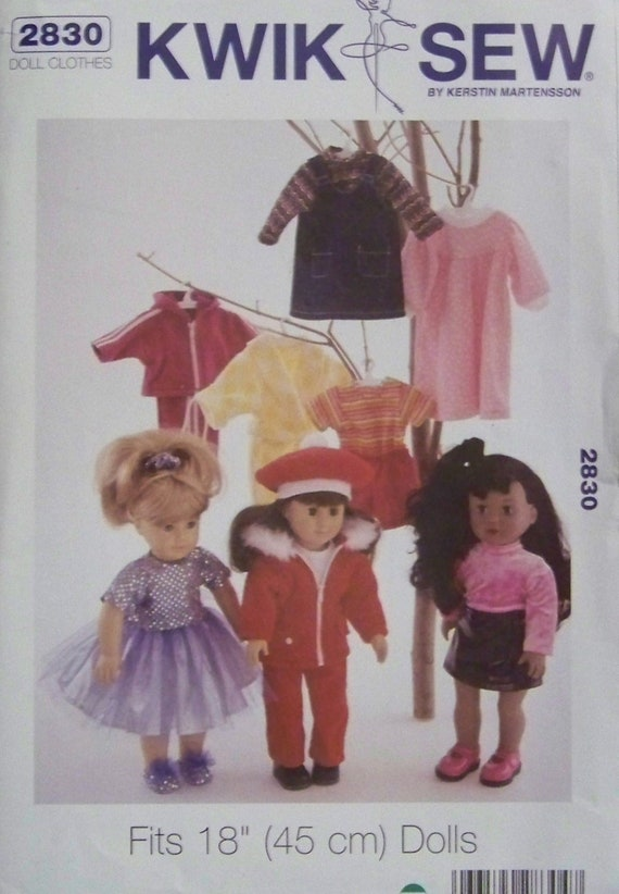 """Kwik Sew 2830 Pattern by Kerstin Martensson for Clothes for Dolls up to 18"""""""