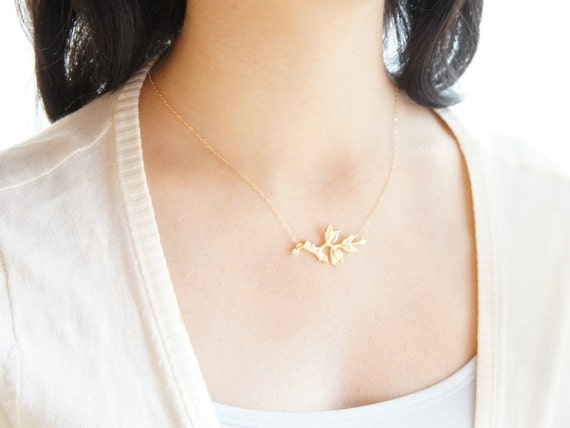 Gold twig leaf necklace- leafy branch- woodland jewelry- delicate 14k gold filled chain- modern minimalist jewelry for everyday