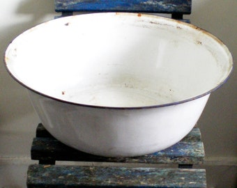 Very Large Vintage Enamel Wash Bowl - possibly Edwardian