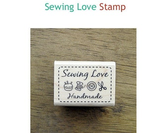 Simple Label Rubber Stamp - Sewing Love **
