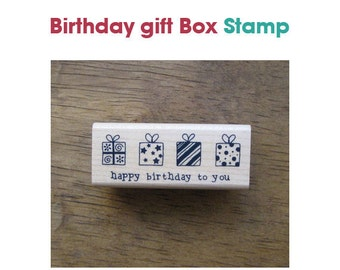 Birthday Gift Box Rubber Stamp