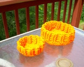 Bright orange round baskets