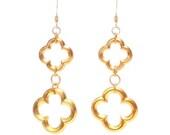 Gold Open Clover Drop Earrings