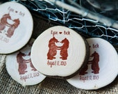 150 Custom Bears in Love Wedding Wood Magnet Favors/Save the Date Invites