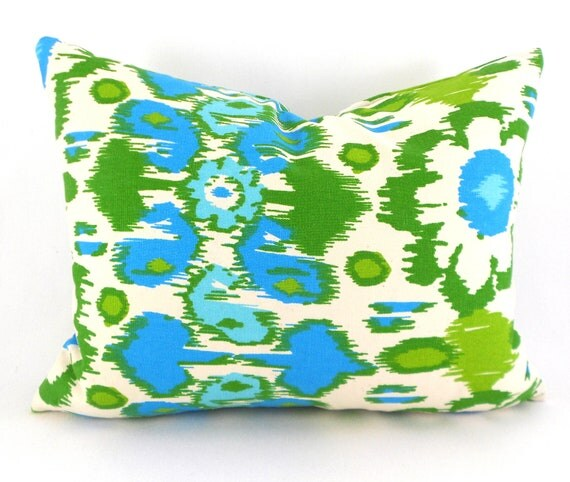 Lumbar Pillow Cover ANY SIZE Decorative Pillow Cover Blue Pillow Green Pillow Premier Prints Rio Grasshopper
