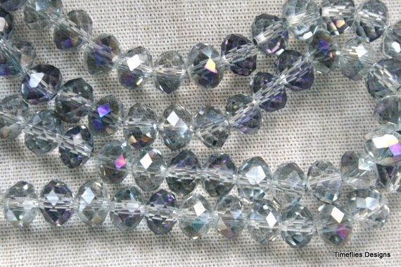 Purple and Silver Rondell AB Crystal Beads