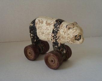 Vintage  Papier Mache Panda Pull-toy