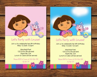 Dora Invitation, Dora Birthday Invitation, Dora Invite, Dora the Explorer Birthday Party Invitation, Dora Party Invite, Dora Birthday Invite