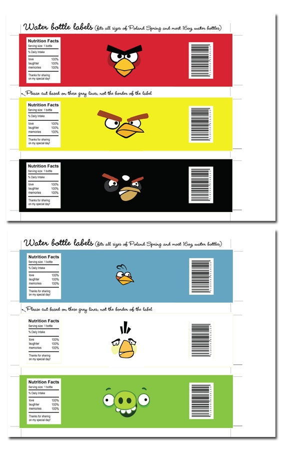 Angry Birds DIY Water Bottle Labels: 6 Bright and Colorful Designs