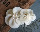 Ivory Felt and Pearl Flower Hair Comb-Wedding or Formal Hair Accessory