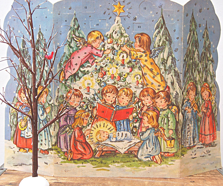 Advent Calendar Vintage : Vintage german paper advent calendar