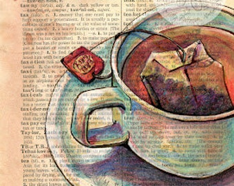 PRINT:  Tea Mixed Media Drawing on Distressed, Dictionary Page