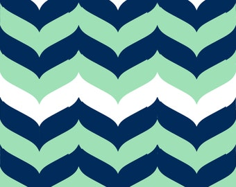 Chevron Wave Stripe Navy, Mint, and White - Fabric by the Yard
