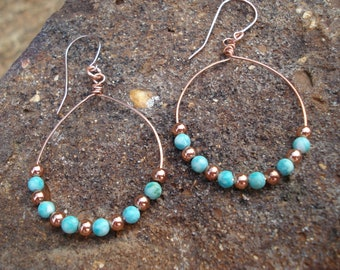 Handmade Copper & Turquoise Wire Hoop Earrings