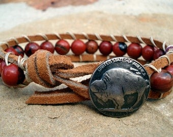 Wrapped Leather Bracelet with Red Jasper beads and Buffalo Nickel button closure