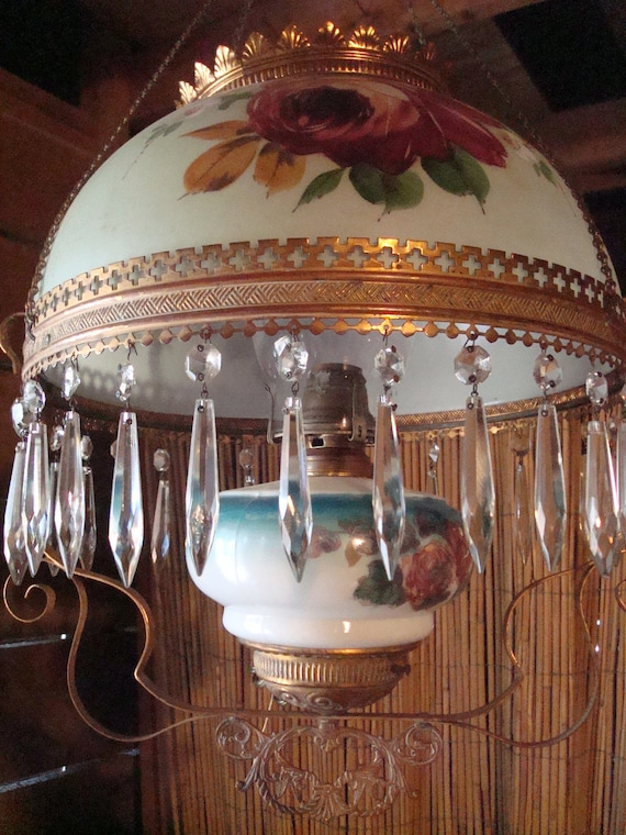 Antique Victorian Hanging Parlor Lamp