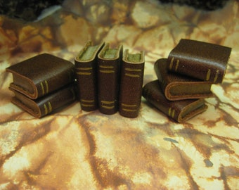 Brown Leather Book - Dollhouse Miniatures (Item B1)