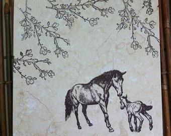 "Mare & Foal Trivet/Hand-Stamped Design on 6x6"" Travertine Tile"
