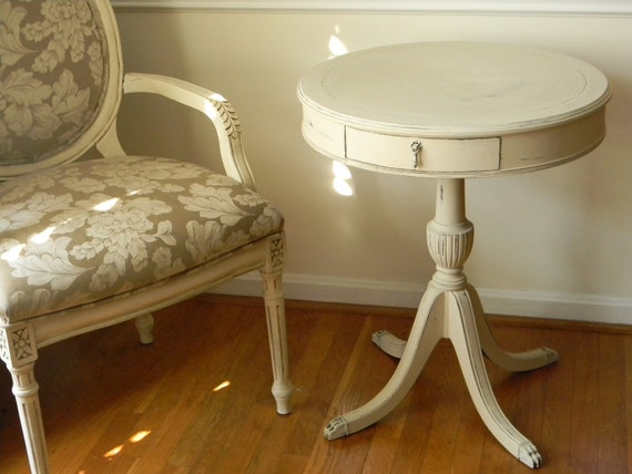 Vintage Round Drum Table With Drawer