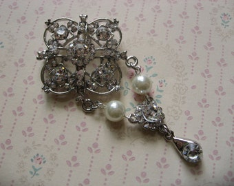 La Petite romantic Swarovski rhinestone crystals wedding bridal brooch pin, pearls brooch, crystals brooch, wedding brooch, bridal brooch