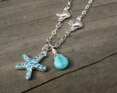 Sea Charm Necklace.  Silver Necklace with Sea Star Charm and Sea Shell Accents.  Beach Jewelry.
