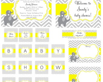 PRINTABLE Gray Yellow Chevron and Elephants Baby Shower Party Package