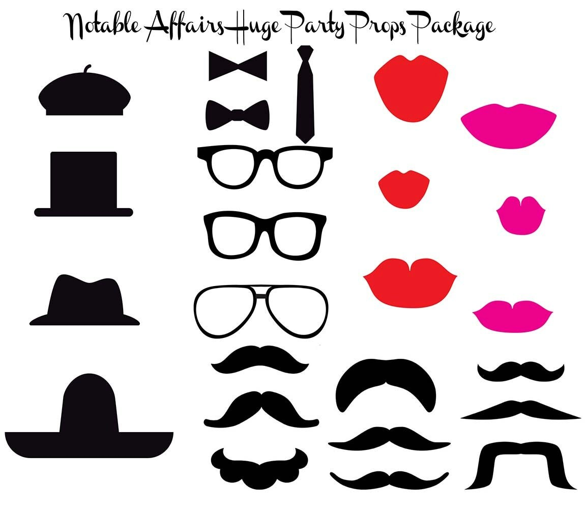 Party Props Package Hats Mustaches Lips Glasses by NotableAffairs
