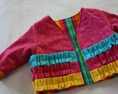Girls Ruffled Jacket , Size 6 - 12 Months ; Rainbow Jacket ; Children's Clothes ; Toddler Size ; Spring Fall Clothing