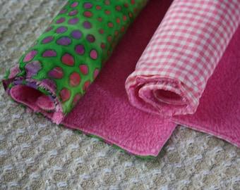 Burp Cloth , Set of Two ; Pink and Green ; Baby Needs ; Fuzzy Burp Cloths ; Baby Shower Gift ; Bright Burp Cloths ; Fleece Burp Cloths