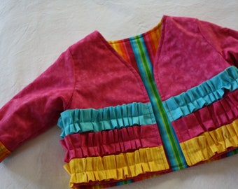 SALE - Girls Ruffled Jacket , Size 6 - 12 Months ; Rainbow Jacket ; Children's Clothes ; Toddler Size ; Spring Fall Clothing