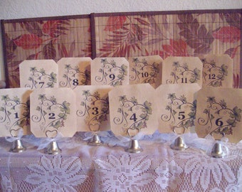 Table Numbers...Vine Hearts....Cottage Chic....Country Chic....Vintage....Set of Twelve