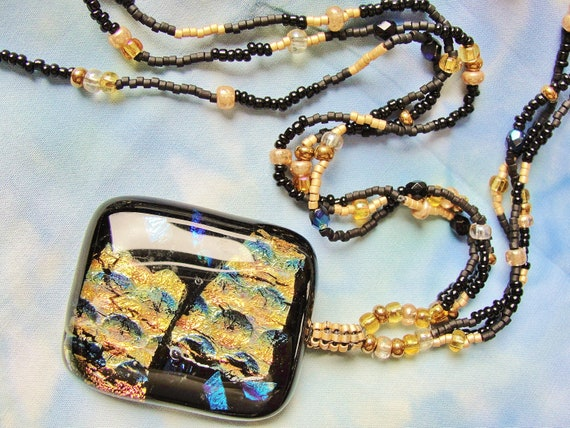 Hand Made Dichroic Glass Pendant Necklace and Earrings Set, pierced, black, gold, blue, seed beads, beaded