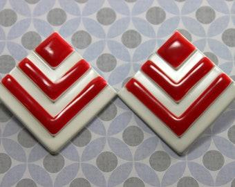 Red and White Enamel Chevron Earrings