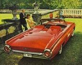 Thunderbird Car Ad 1963 Red Convertible Sports Roadster Vintage Original