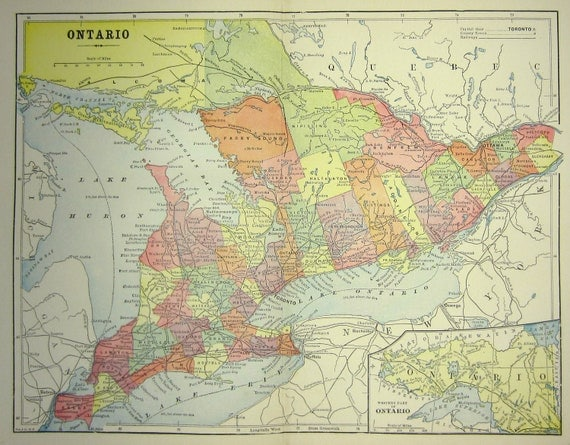 Ontario Canada Antique Map - 1897 Original Canadian Province Map Great Wall Decor
