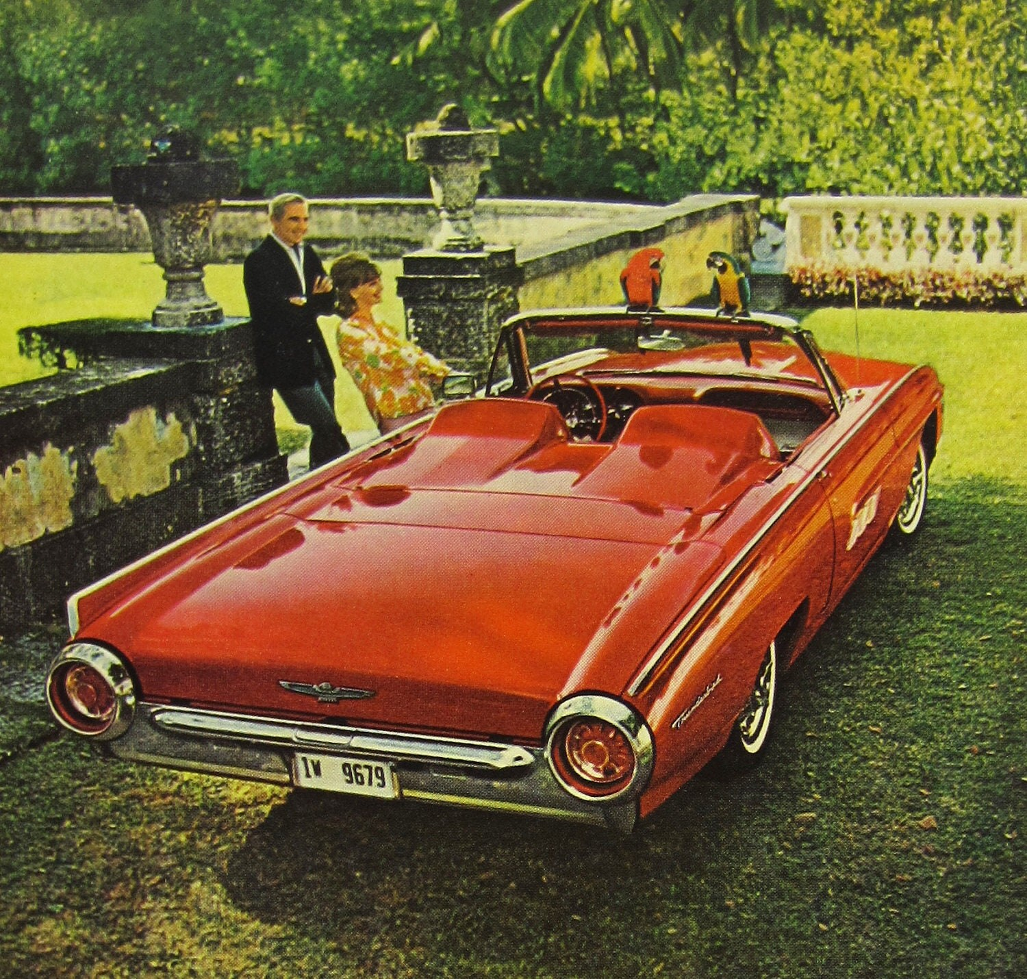Thunderbird Car Ad 1963 Red Convertible Sports Roadster