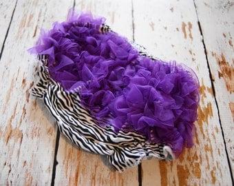 Zebra Print Chiffon Ruffle Diaper Cover with Purple Ruffle Bottom
