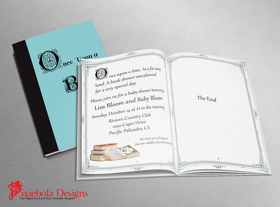 book themed baby shower invitation by pixieboladesigns on etsy