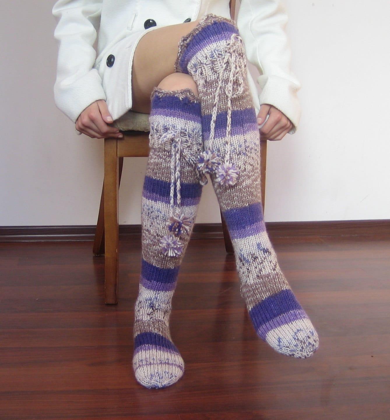 Knitting Pattern For Ladies Long Socks : Long wool knit Ladies socks // Knee-high Knitted socks for