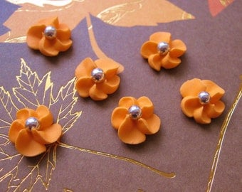Orange Royal Icing Flowers with Silver Dragee Center (100)