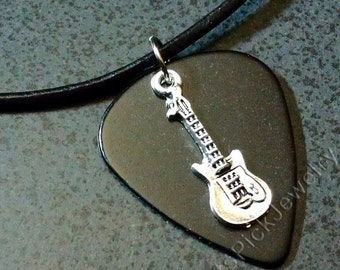 Electric Guitar Charm on Black Genuine Guitar Pick Necklace