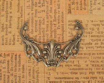 Splendid Victorian  Style Filigree Floral Connector - Ox Brass - 48x37mm