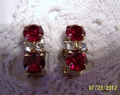 Vintage Rhinestone Crystal Earrings-Red and Clear Crystal Earrings-Great for a Festive Occasion-clip on style